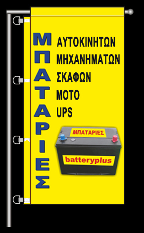 advertising flag for external use for the company BATTERY PLUS