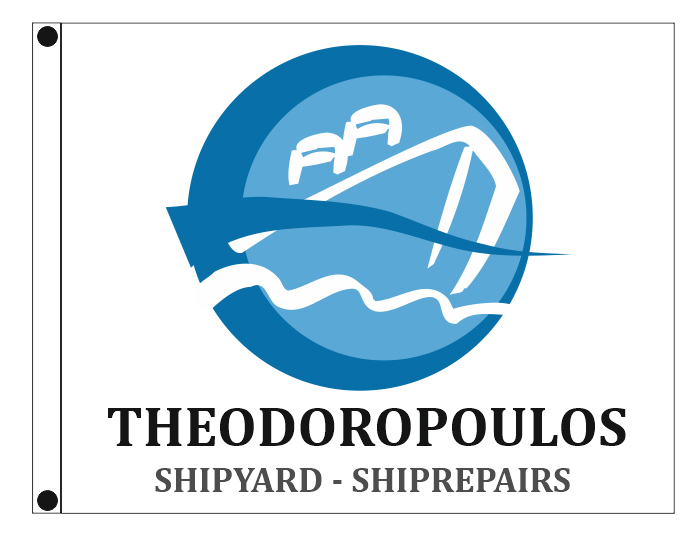 Custom flags 150x120cm for the company THEODOROPOULOS SHIPYARDS-SHIPREPAIRS