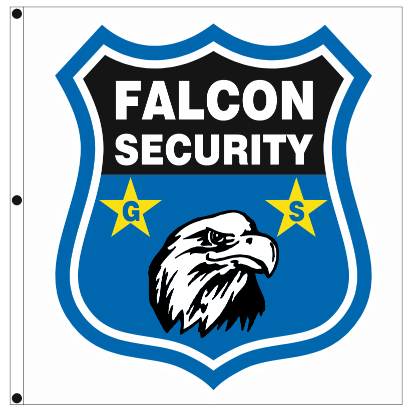 Advertising company flags 190x200cm for FALCON SECURITY GS