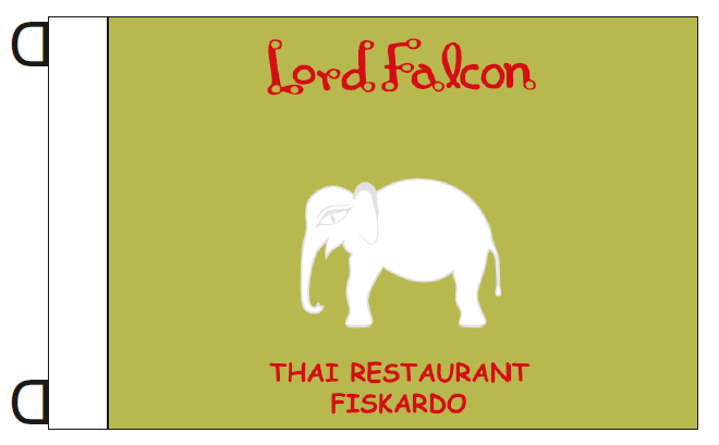 promotional flags 50x35cm for the restaurant Lord Falcon