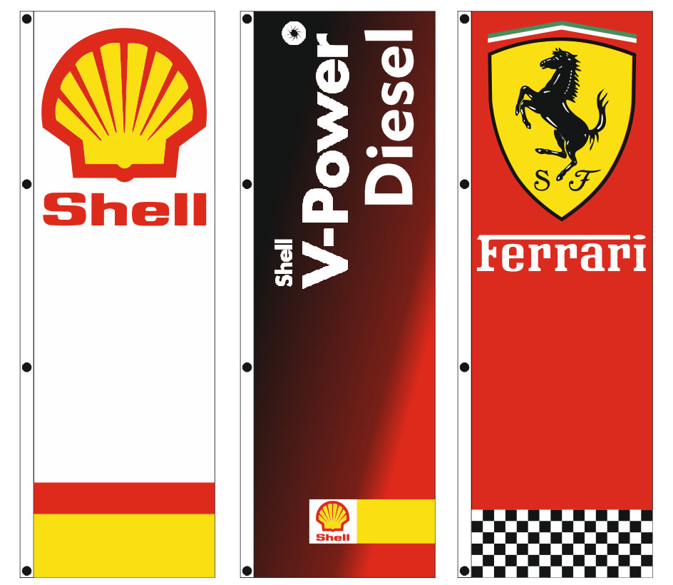advertising flags 100x250cm for the gas station MENTZELIDIS SHELL
