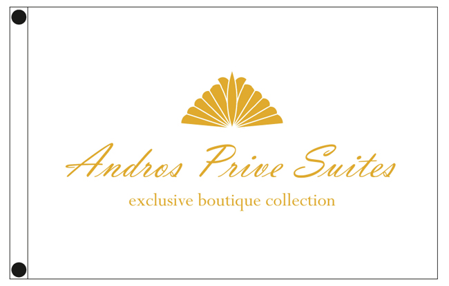 custom advertising flags 135x90cm for ANDROS PRIVE SUITES