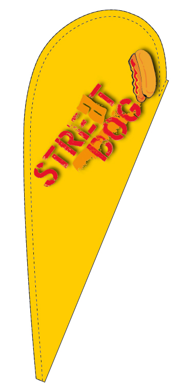 teardrop flag 110x265cm for the company STREAT DOG
