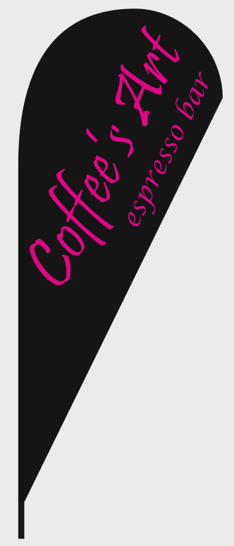 advertising teardrop flag 110x265cm for Coffee Art