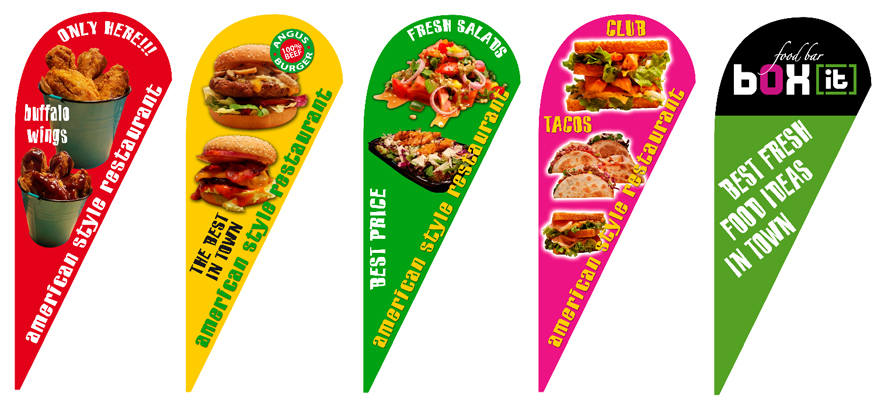 promotional teardrop flags 110x265cm for snack bar BOX IT